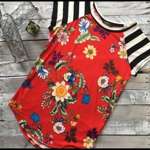 Tops - Stripes and Floral Stretchy Top